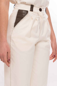 Contrast Inserts and Stitching Detail Cotton Gabardine Trousers