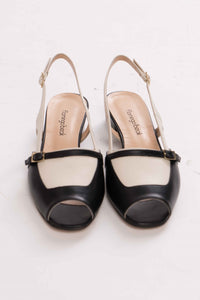 Two-tone Leather Slingback Sandals