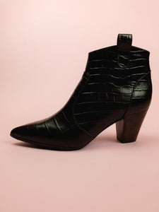 Embossed Dark Brown Leather Ankle Boots