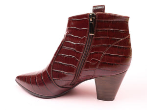 Embossed Burgundy Leather Ankle Boots