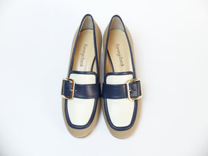 Two-tone Leather Inserts Detail Canvas Loafers