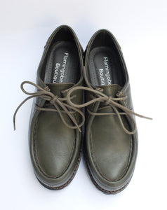 Military green lace-up shoes