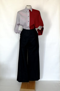 Palazzo jeans trousers with buttons