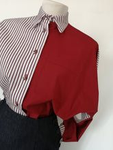 Upload the image to the Gallery viewer, Wide sleeve cotton shirt with contrasting sides