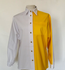Wide-sleeved shirt in cotton with contrasting sides