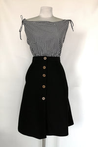 jeans skirt with buttons