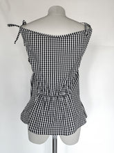 Upload the image to the Gallery viewer, checkered boat neck top