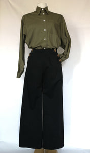 Black palazzo trousers with buttons