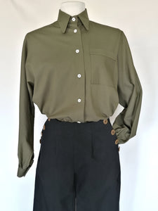 Wide-sleeved cotton shirt