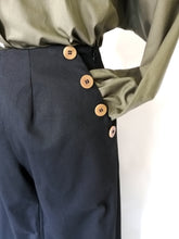 Upload the image to the Gallery viewer, Black palazzo trousers with buttons