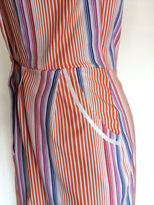Dress with striped buttons