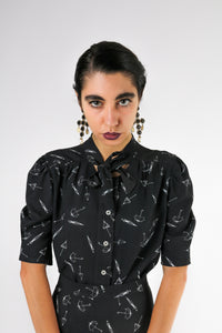 Umbrella patterned shirt with bow
