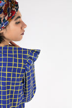 Upload the image to the Gallery viewer, Blouse with check patterned ruffles on the shoulders