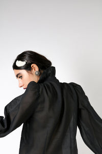 Organza shirt with volume sleeves