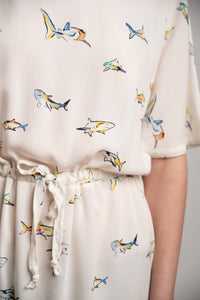 Coulisse Detail Little Sharks Print Dress