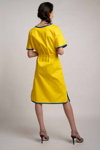 Coulisse Detail Yellow Cotton Dress