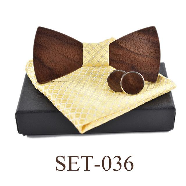 Wooden Bow Tie Cufflinks Kerchief Preferential Set-Wooden Gallery