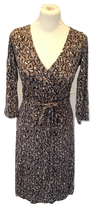 Load image into Gallery viewer, L.K. Bennett brown silk Wrap dress with pattern  size 10 VGC