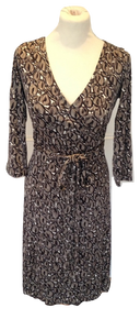 L.K. Bennett brown silk Wrap dress with pattern  size 10 VGC