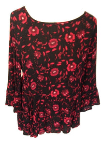 Velvet black and red peplum top size 12