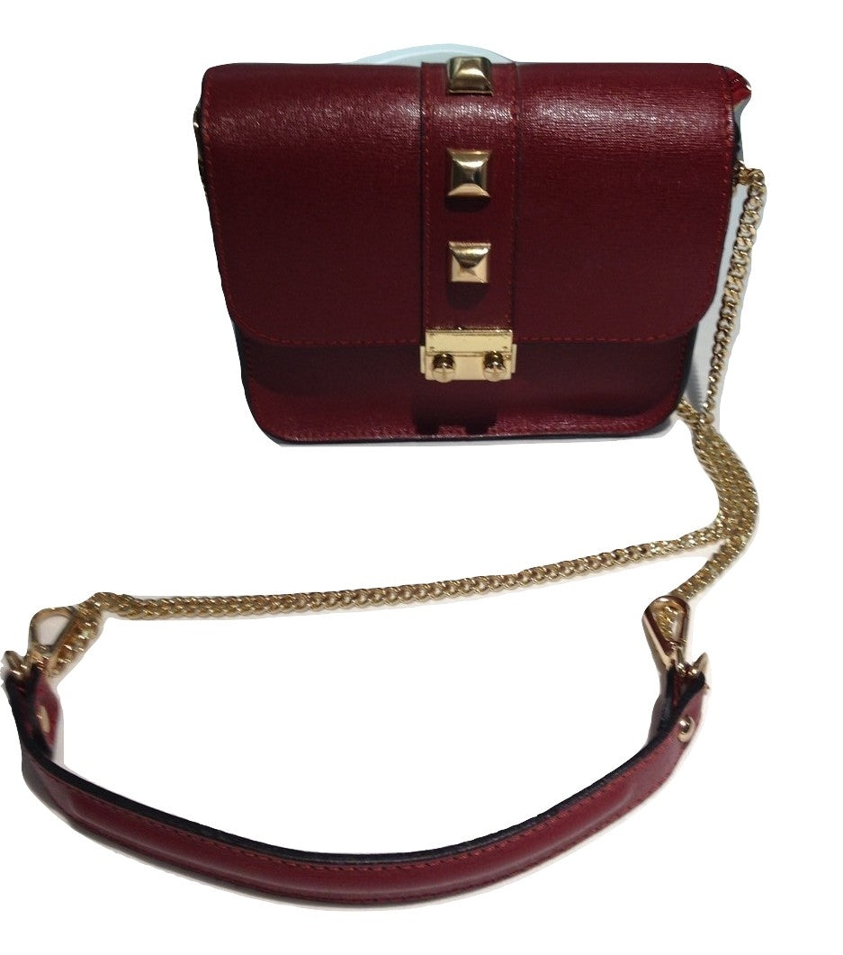 Wine red small leather bag
