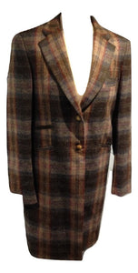 Vilagallo Multi Check wool Coat  size 12 VGC