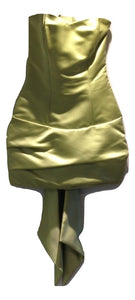 Kevan Jon Lime Green Satin Short Evening Dress Size Extra Small