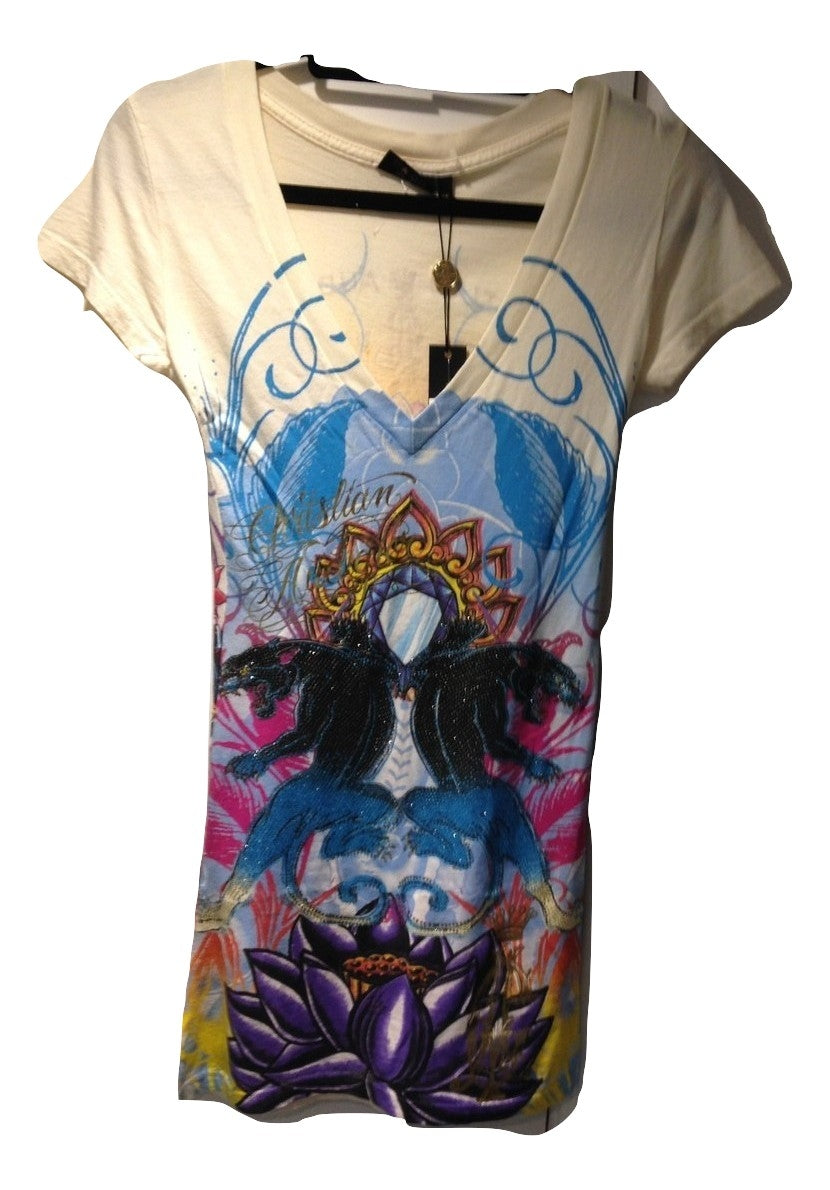 Christian Audigier V Neck long T. Shirt in mint condition with tags Size XS