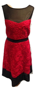 Hobbs red and black rosette evening dress Size 16