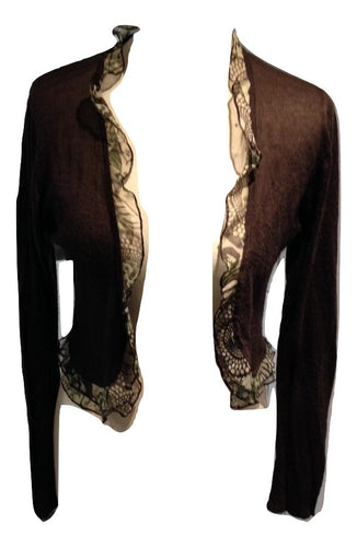 Klass Collection dark brown cardigan with patterned chiffon frill on edge Size Small in good condition
