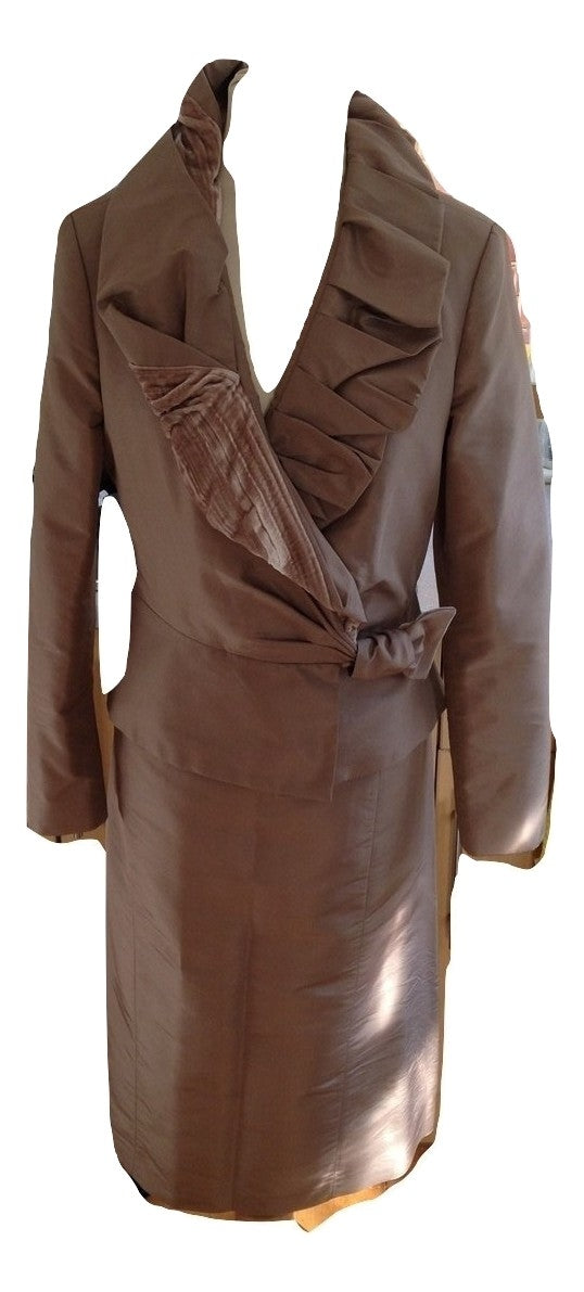 Renata Nucci 2 Piece Silk Mother of The Bride Outfit Size 40 In Very Good Condition