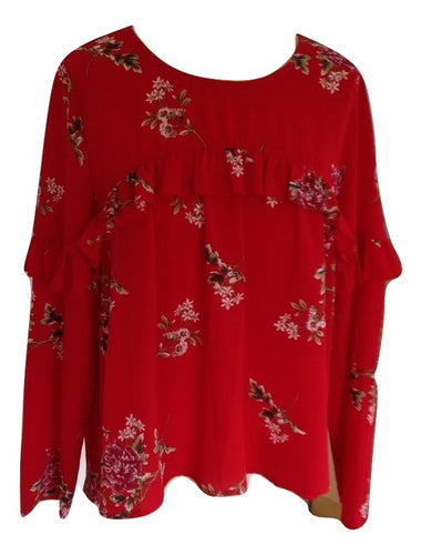 Willow Paige Red Floral Blouse Size Medium in very good condition