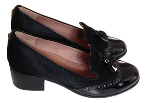 Moda Pelle Black Patent Leather/ponyskin Loafers Size 38