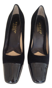 Amalfi black patent and suede court Shoes Size UK 7 B / American 10 B