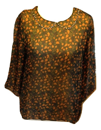 Bellerose Green Leaf Patterned Silk Top Size 4