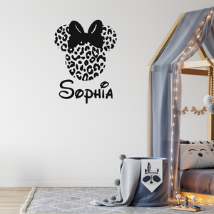 Personalised Name Animal Print Disney Wall Sticker Minnie Mouse