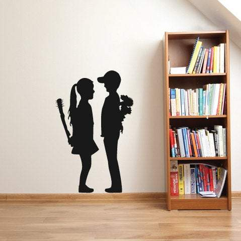 Banksy Wall Stickers Vinyl Decal Mural Boy And Girl- Design For Home Decor UK. *FREE P&P!* Christmas Gift-QuoteMyWall