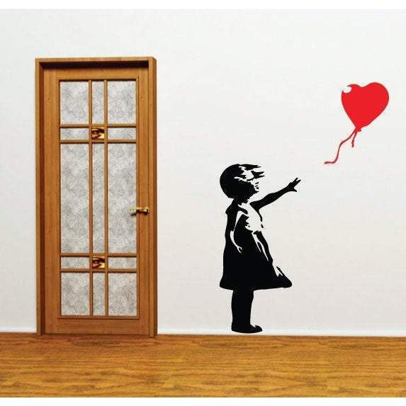 Banksy Balloon Girl Wall Sticker - Banksy Wall Decal, Wall Art, Street Artist Wall Decor Christmas Gift
