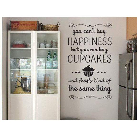 Happiness Cupcake Wall Art Sticker Quote, Vinyl Design For Home Decor Christmas Gift-QuoteMyWall