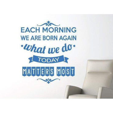 Wall Sticker Decal Quote - Each Morning Motivational Art Quotes. For Home Decor and Office Christmas Gift