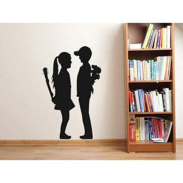 Banksy Girl And Boy Wall Sticker Decal Art. Street Artist Gift For Home Decor/Office Christmas Gift