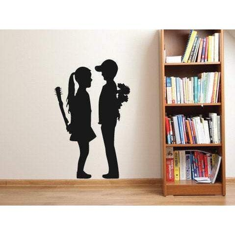 Banksy Girl And Boy Wall Sticker Decal Art. Street Artist Gift For Home Decor/Office Christmas Gift-QuoteMyWall
