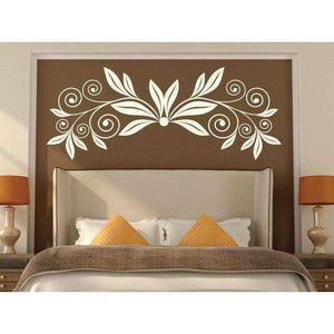 Curly Flower Wall Art Sticker Decal, Large Floral Design Christmas Gift