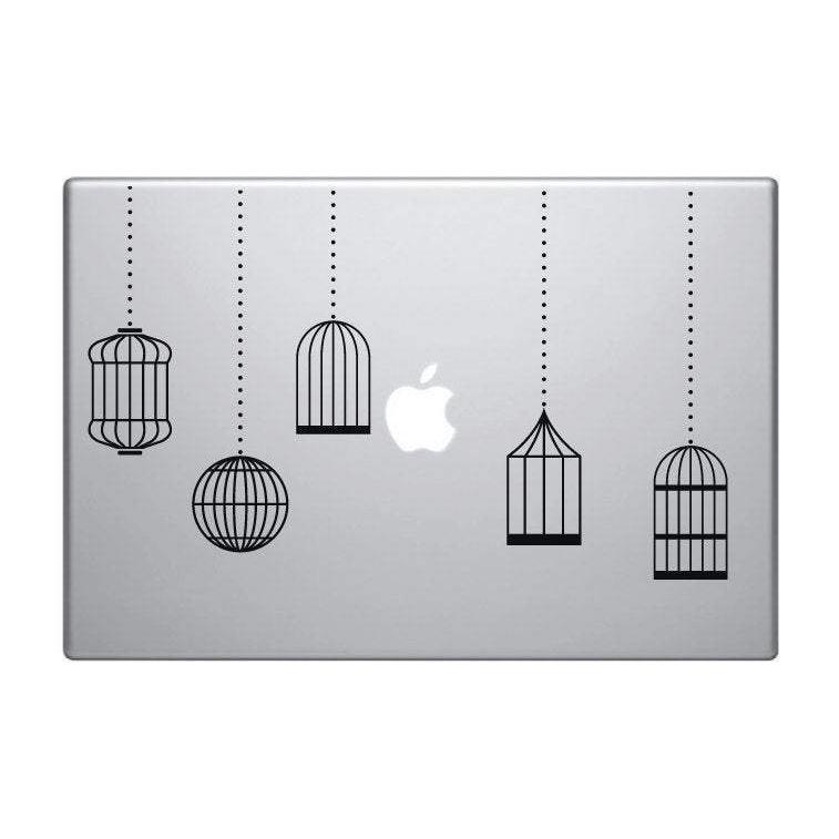 Macbook/Pro Decal Sticker 5 Hanging Bird Cages For Laptop/iPad Christmas Gift