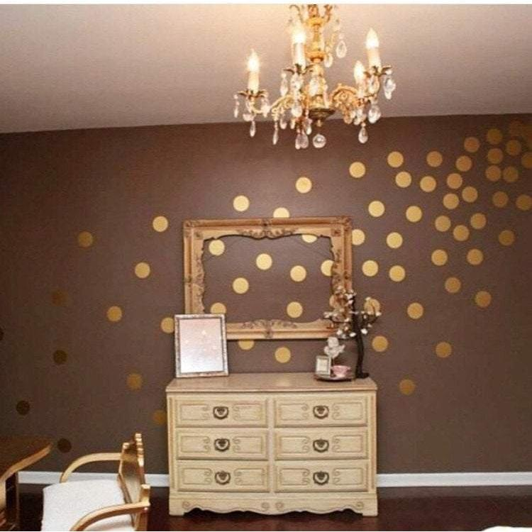 Gold Metallic Polka Dot Wall Decals Wall Stickers 100 Pack Nursery Office Home Stickers For Walls Art