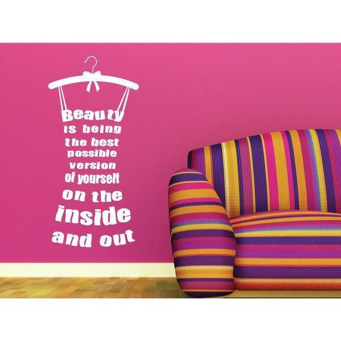 Beauty Dress Wall Sticker Quote, Motivational Decal- Vinyl Wall Art Sticker Design For Home Decor UK. Mural, Wallpaper, Gift Christmas Gift