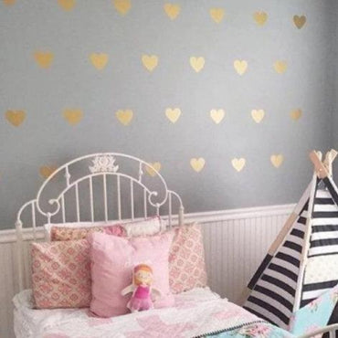 100 Gold Metallic Hearts Wall Stickers, Nursery Wall Decals, Confetti, Vinyl, Car, Home Wall Art Decor, Wallpaper, Wedding Christmas Gift