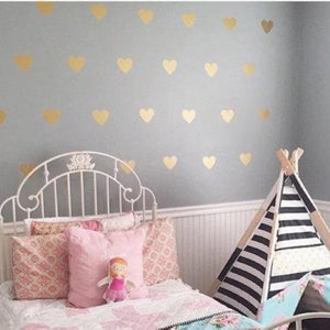 100 Gold Heart Wall Stickers, Gold Heart Wall Decals, Peel And Stick Decals, Gold Wall Decals, Gold Wall Stickers, Heart Decals, Home Decor