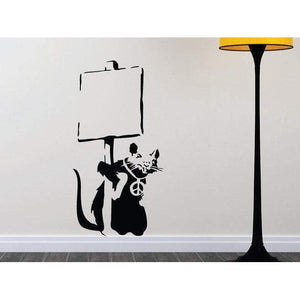 Banksy Wall Art Decal/Wall Sticker - Rat Holding a Sign, Street Art, Home Decor Christmas Gift-QuoteMyWall