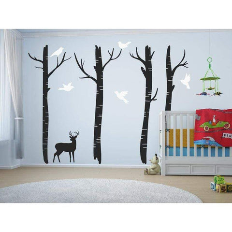 Large Nursery Tree Wall Decals With Deer & Birds/Tree Wall Art Decal/Stickers For Children - Home Decor Christmas Gift-QuoteMyWall